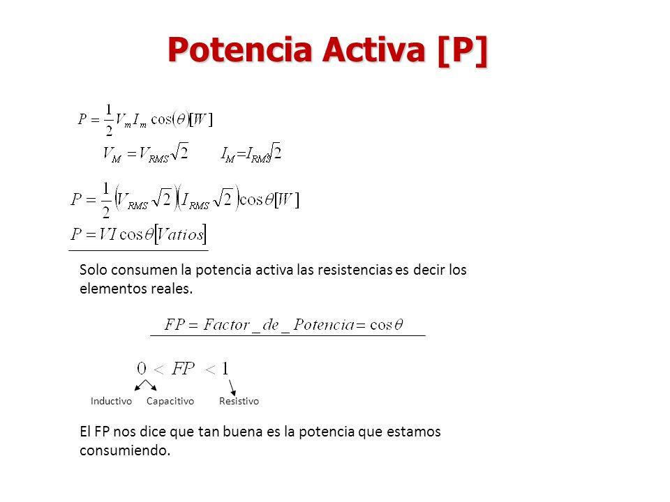 Potencia Activa [P] Solo consumen la potencia activa las resistencias es decir los elementos reales.